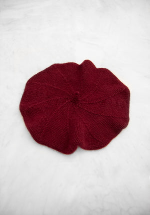Cashmere Beret in Oxblood - Dark Red