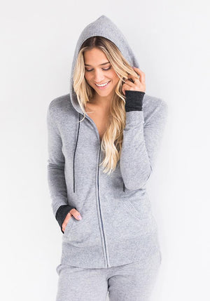 Cashmere Hooded Zip Up Sweater for Women in Light Grey