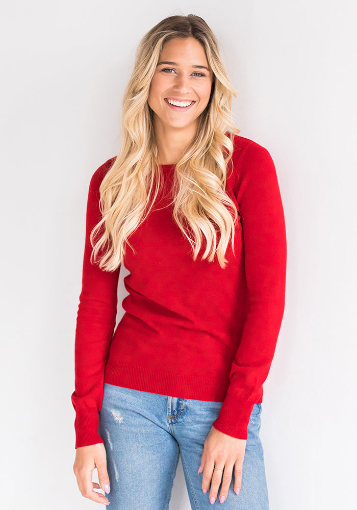 Red Fitted Roundneck Cashmere Sweater for Women