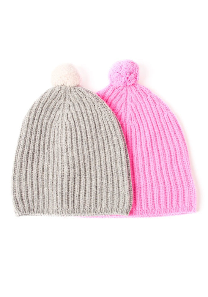 Ribbed Beanie Pom Pom ~ Rosie Sugden, O/S - The Cashmere Shop  - 1