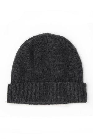 Heavy Ribbed Hat Charcoal - 100% Cashmere