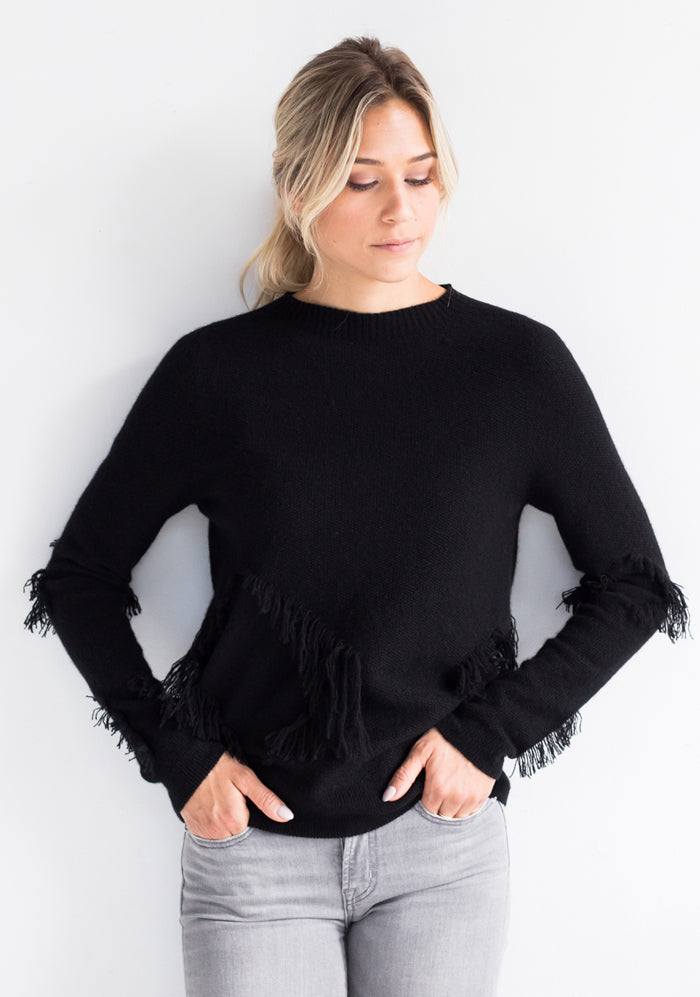 Cashmere Seemless Crew-Neck Sweater w/ Ruffle, Black