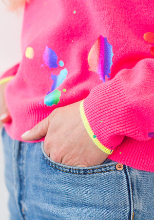 SHOUT OUT MINI SWEATER - NEON PINK/RAINBOW FOIL
