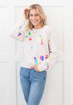 SHOUT OUT MINI SWEATER - WHITE/RAINBOW FOIL
