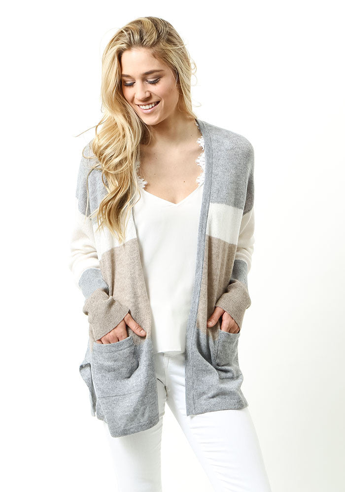 Cashmere Cardigan with Stripes