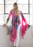Cashmere & Silk Blend Woven Scarf - Bright Pink with Blue, Grey, Purple - Spring,  Summer