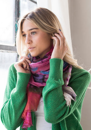 Lattice V Neck Cardigan with Buttons in Green - Made in Mongolia for The Cashmere Shop
