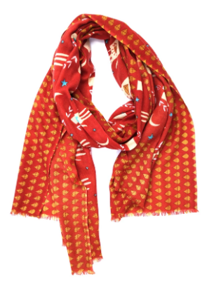 Red Pattern Scarf by Yarnz NYC - 100% Cashmere
