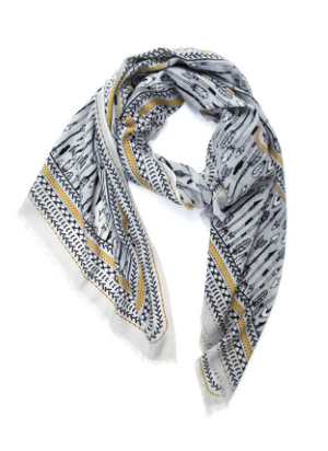 Yarnz Printed Cashmere Scarf Light Grey with Gold & Black Detail - Bow and Arrow Graphic