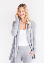 Cashmere Shawl Collar Open Mesh Cardigan in Light Grey