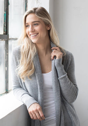 Lightweight Mesh Cashmere Cardigan in Light Grey - The Cashmere Shop Toronto