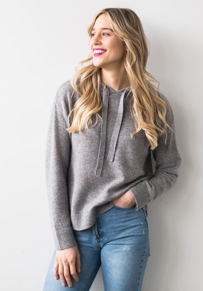 CASHMERE SPECKLED HOODIE, GREY