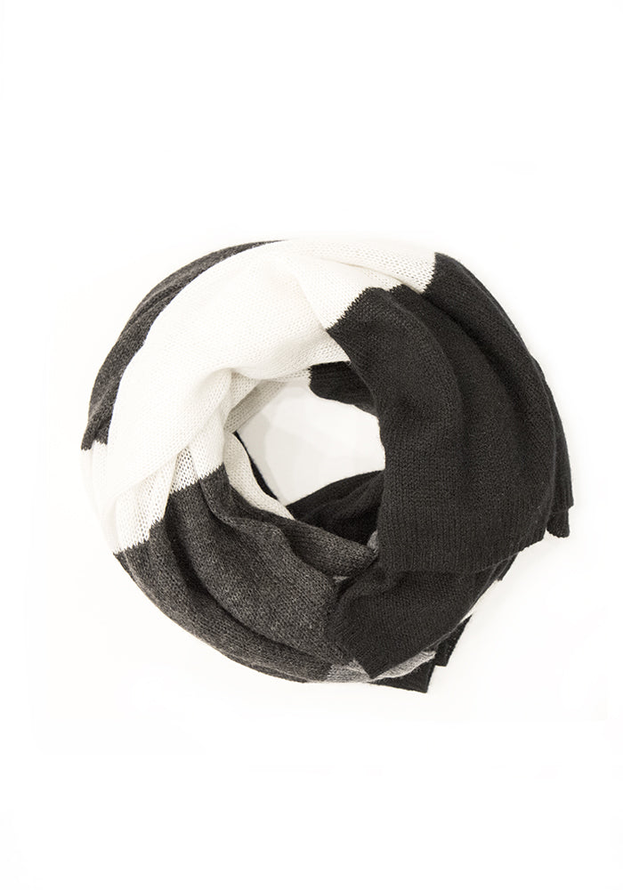 Cashmere Striped Grey and Crucial Wrap & Scarf