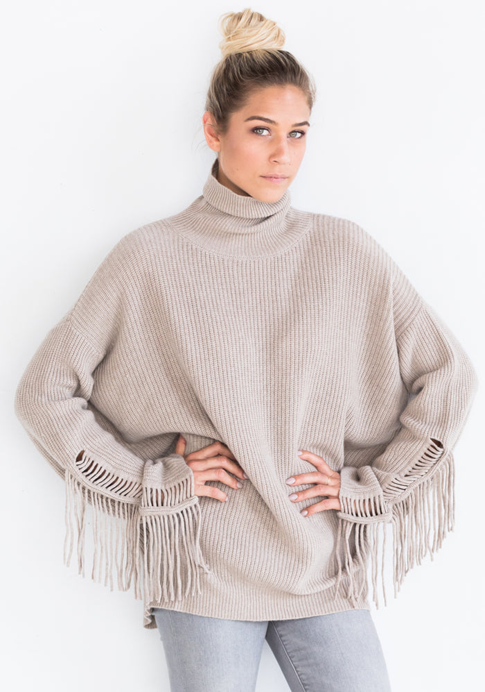 Cashmere Oversized Sweater with Fringe, Natural