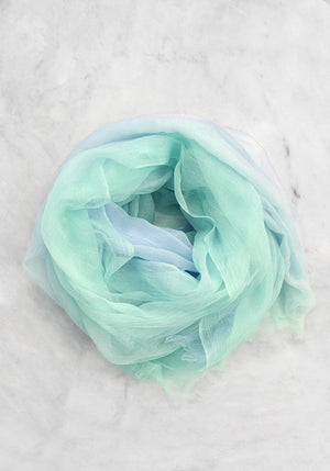 Cashmere Lightweight Gradient Scarf - Blue and Teal