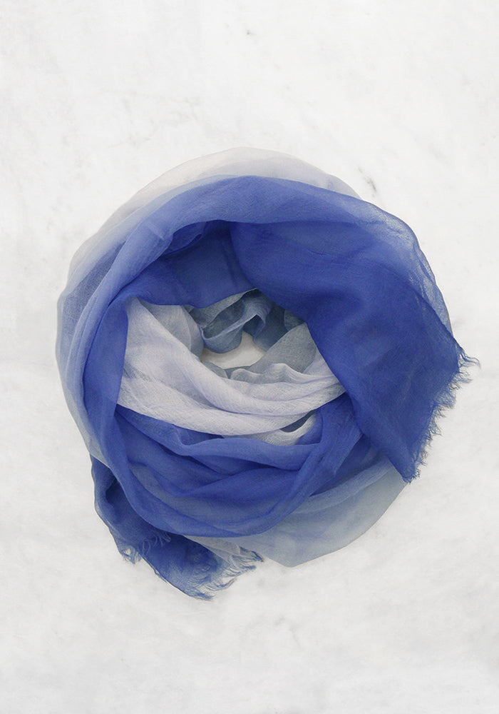 Cashmere Lightweight Scarf Blue & White - Summer Collection