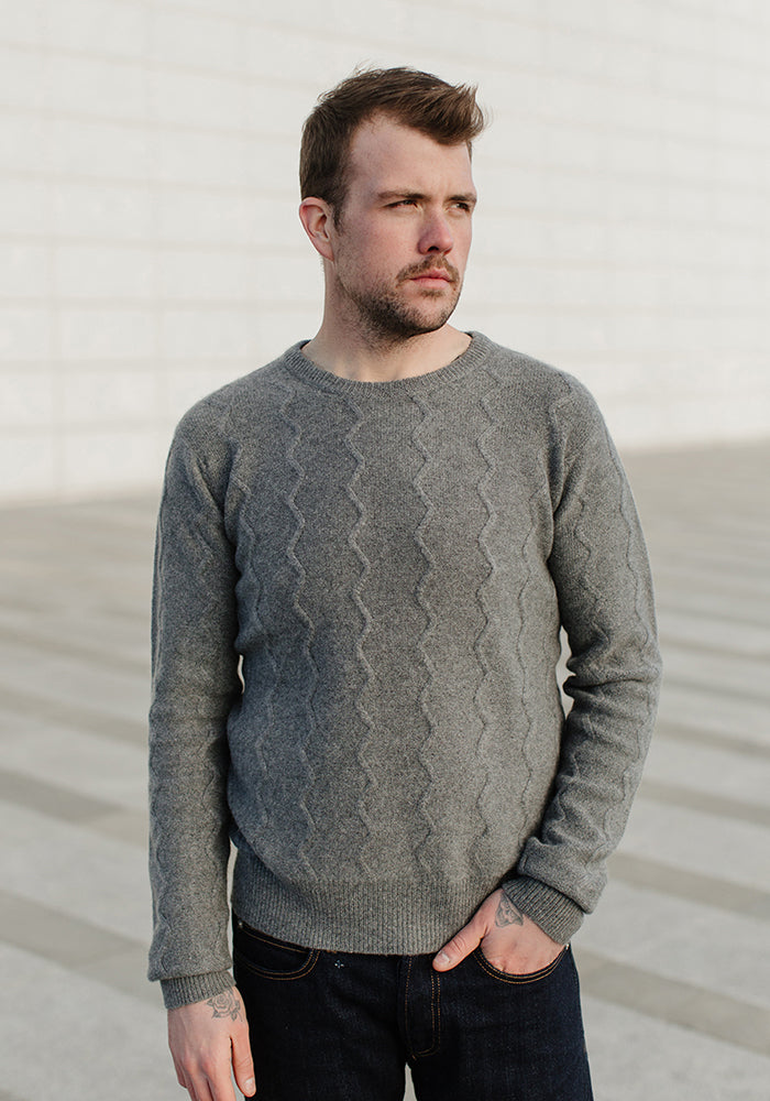 Men's Round Neck with Zig Zag Texture