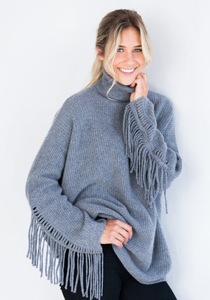 Grey Ribbed Oversized Turtleneck with Fringe