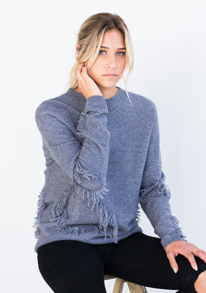 Cashmere Seamless Crew-Neck Sweater w/ Ruffle, Grey