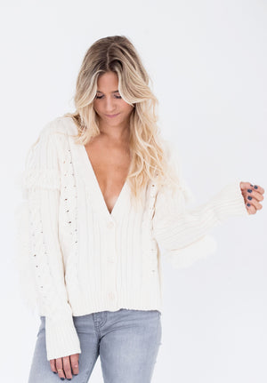 White Cable Cardigan with Fringes