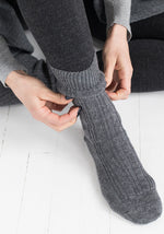 Women's Cashmere Socks Flannel Grey by Marcoliani - The Cashmere Shop