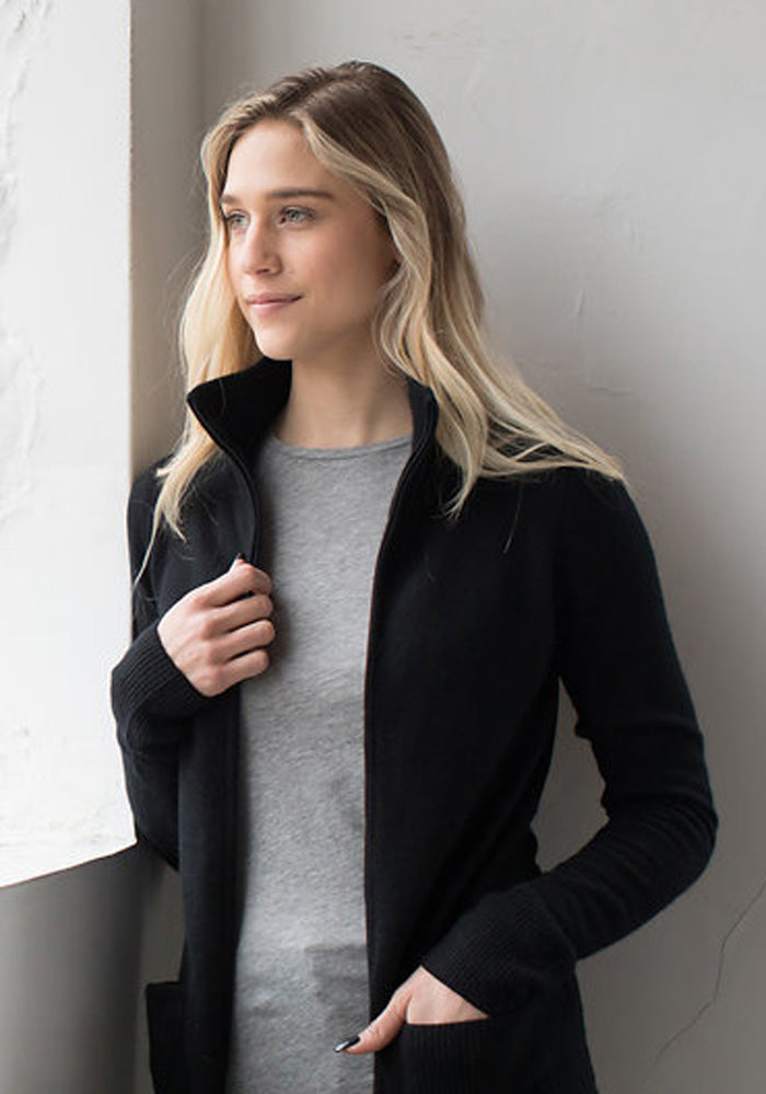 Fitted Zip Cowl Sweater