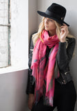 Cashmere and Silk Blended Scarf - Thrush Holmes Painting - Pink with Yellow and Grey