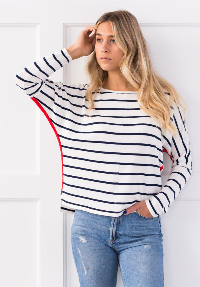 ATLANTIC STRIPE JUMPER - ICE WATER