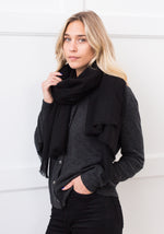 FEATHER WEIGHT WOVEN SCARF - BLACK