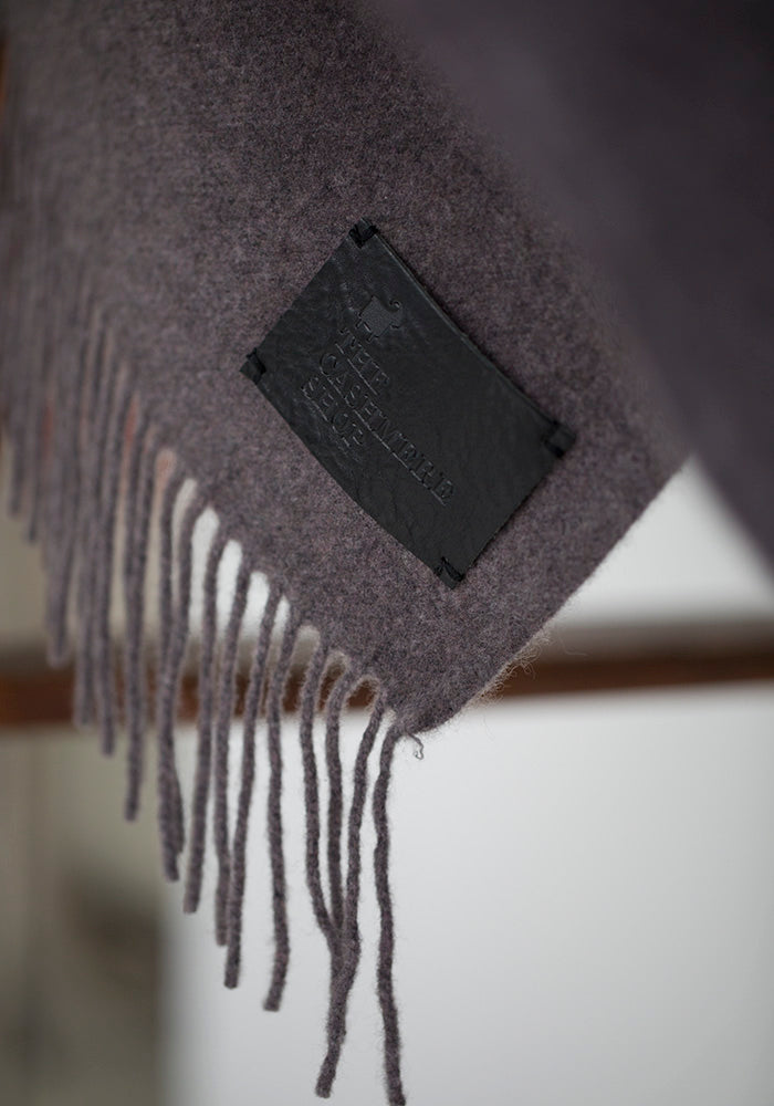Cashmere Blanket with Fringe, Grey