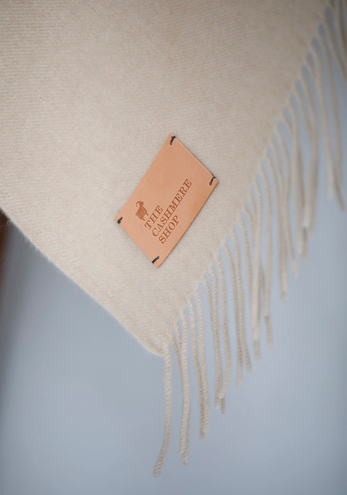 Cashmere Blanket with Fringe, Sand
