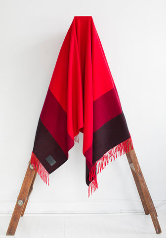 Fringed Cashmere Blanket, Red with Stripe