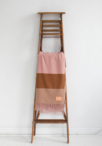 Fringed Cashmere Blanket, Dusty Pink with Stripe