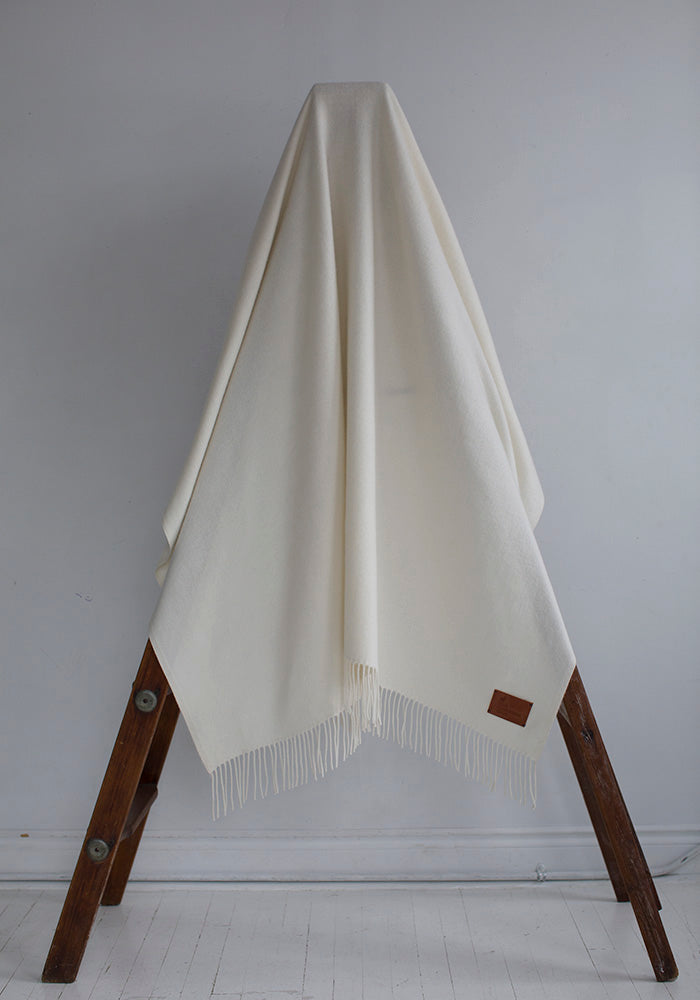 Cashmere White Woven Blanket with Fringe