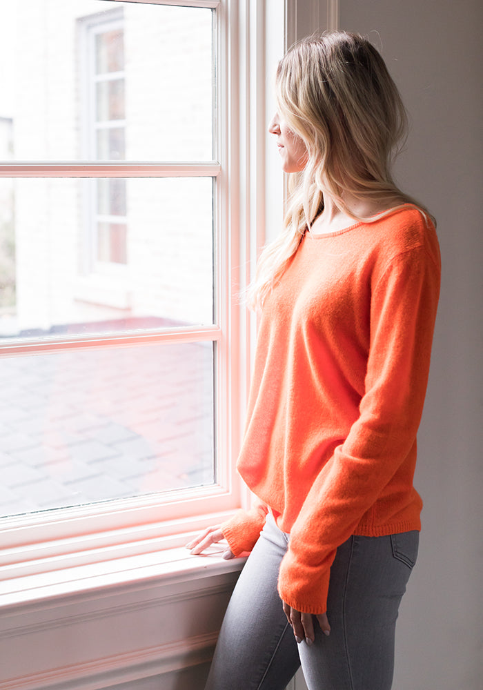 Neon Orange Lightweight Cashmere Sweater by Brodie