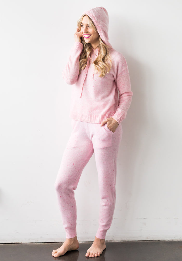 CASHMERE SPECKLED HOODIE, PINK