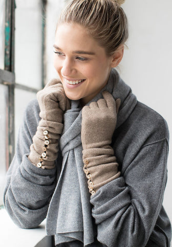 Cashmere Long Long Button Gloves
