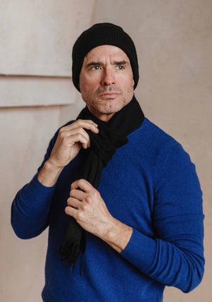 Men's Cashmere Roundneck, Royal Blue