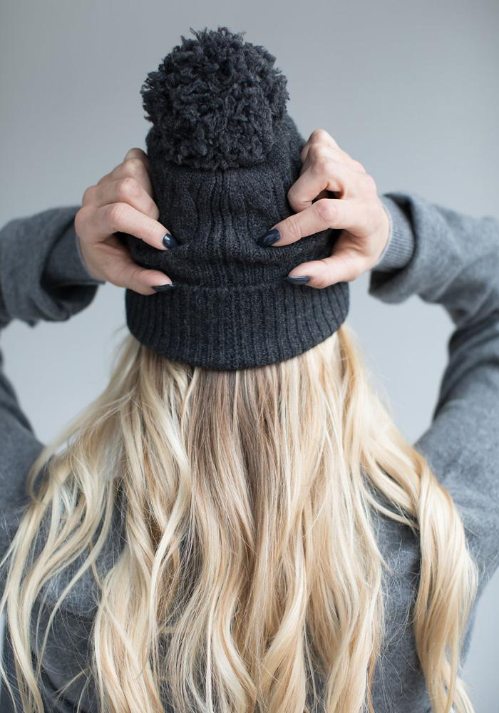 Cashmere Pom Pom Hat - The Cashmere Shop  - 6