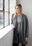 Oversized Cashmere Button Up Cardigan - Grey, Boyfriend Cut - Made in Mongolia