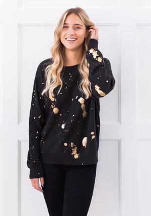 HARRIET GOLD FOIL SWEATER - CHARCOAL