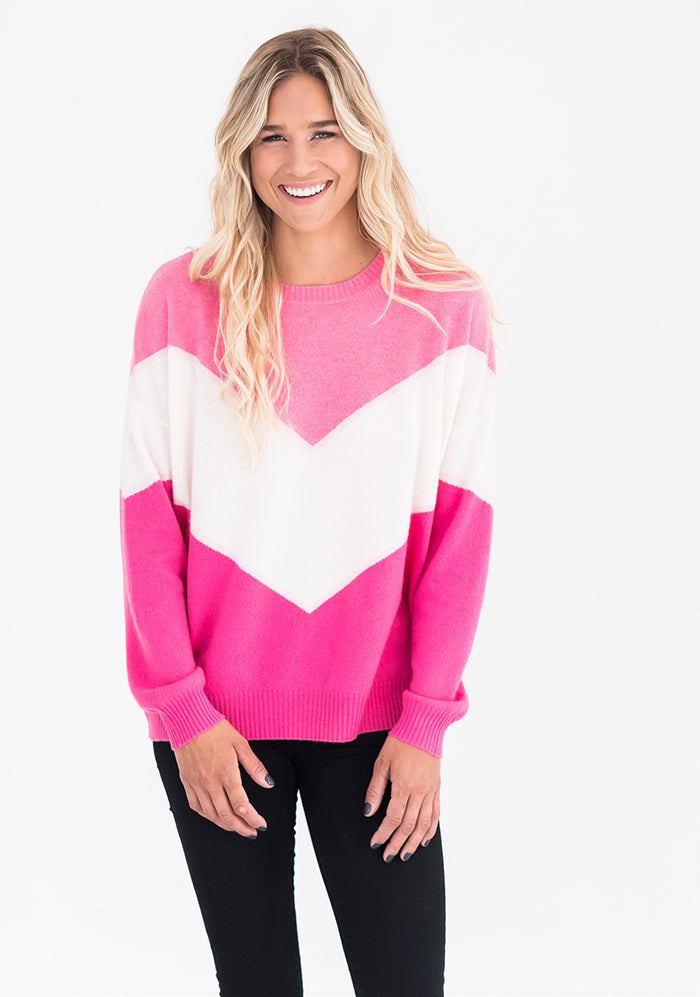 Brodie Chevron Sweater, Pink