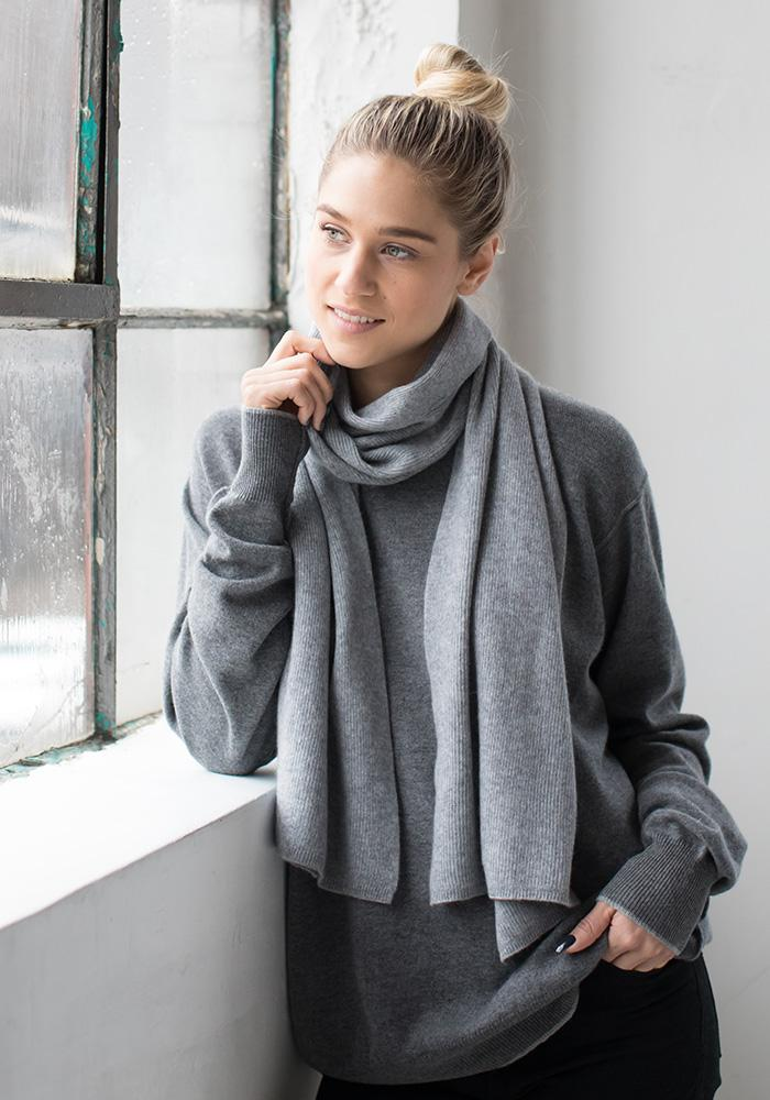 Cashmere Ribbed Scarf, 100% Cashmere in Light Grey - Christmas Shopping Toronto