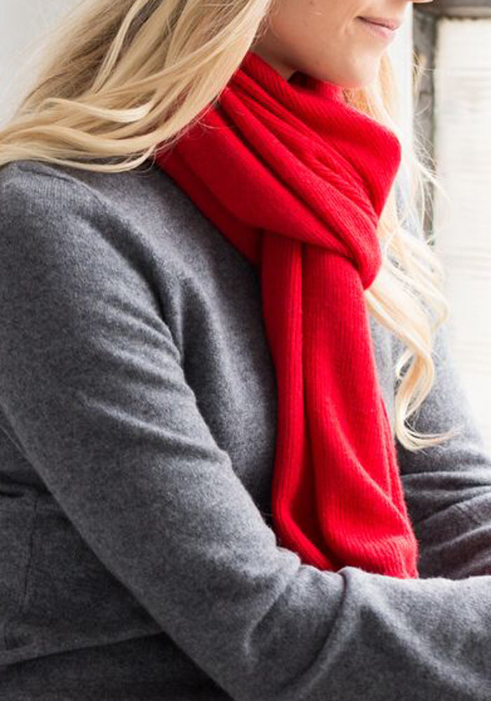 Cashmere Ribbed Scarf, 100% Cashmere in Red - Christmas Shopping Toronto