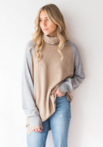COLOUR BLOCK COWL NECK BOYFRIEND