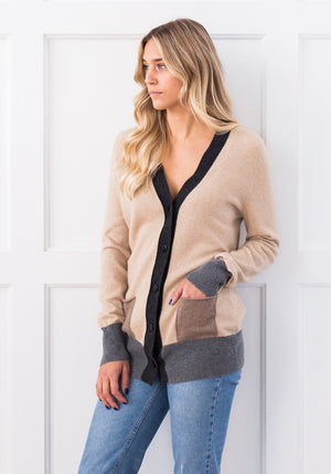 COLOUR BLOCK V-CARDI - SAND