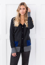 COLOUR BLOCK V-CARDIGAN CHARCOAL