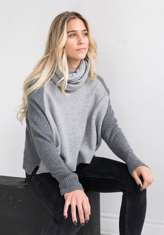 Cropped 4 Ply Mesh Cowl Sweater