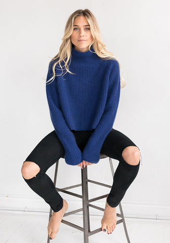 Cashmere Heavy Ribbed Cropped Sweater