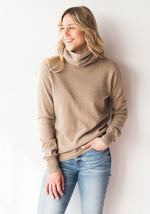 FITTED WOMEN'S COWL NECK - MUSHROOM